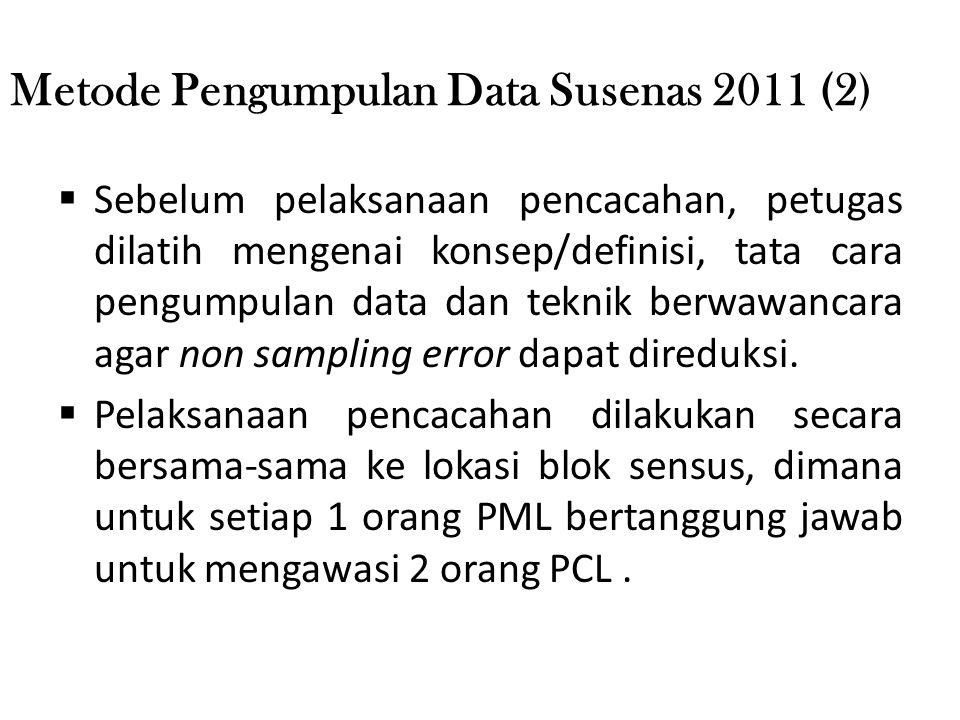 Metode Pengumpulan Data Susenas 2011 (2)  Sebelum pelaksanaan pencacahan, petugas dilatih mengenai konsep/definisi, tata cara pengumpulan data dan te