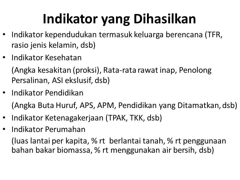 Indikator yang Dihasilkan Indikator kependudukan termasuk keluarga berencana (TFR, rasio jenis kelamin, dsb) Indikator Kesehatan (Angka kesakitan (pro