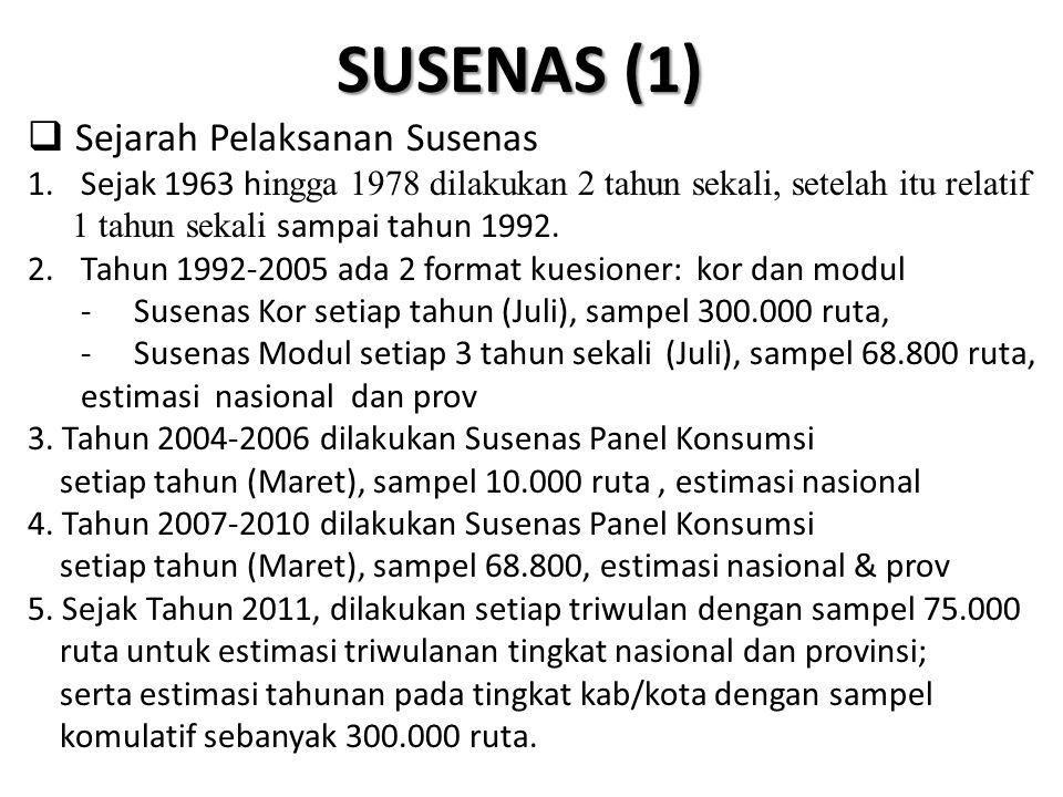 SUSENAS (1)  Sejarah Pelaksanan Susenas 1.Sejak 1963 h ingga 1978 dilakukan 2 tahun sekali, setelah itu relatif 1 tahun sekali sampai tahun 1992. 2.T