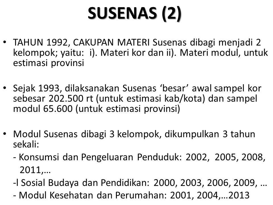 SUSENAS (2) TAHUN 1992, CAKUPAN MATERI Susenas dibagi menjadi 2 kelompok; yaitu: i). Materi kor dan ii). Materi modul, untuk estimasi provinsi Sejak 1