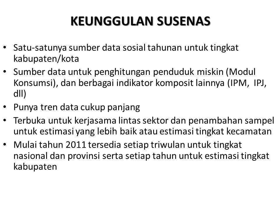 KEUNGGULAN SUSENAS Satu-satunya sumber data sosial tahunan untuk tingkat kabupaten/kota Sumber data untuk penghitungan penduduk miskin (Modul Konsumsi