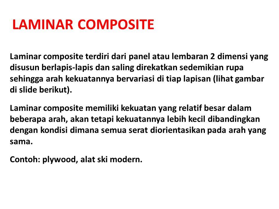 LAMINAR COMPOSITE Laminar composite terdiri dari panel atau lembaran 2 dimensi yang disusun berlapis-lapis dan saling direkatkan sedemikian rupa sehin