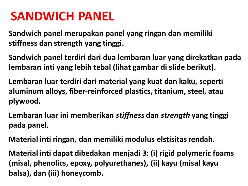 SANDWICH PANEL Sandwich panel merupakan panel yang ringan dan memiliki stiffness dan strength yang tinggi. Sandwich panel terdiri dari dua lembaran lu