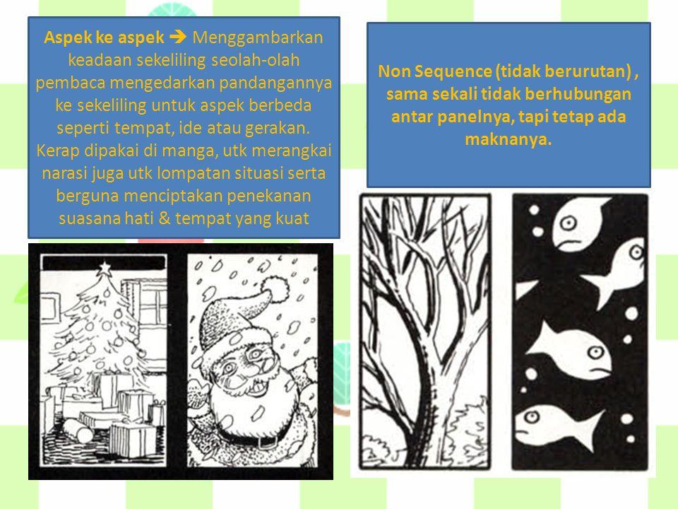 Aspek ke aspek  Menggambarkan keadaan sekeliling seolah-olah pembaca mengedarkan pandangannya ke sekeliling untuk aspek berbeda seperti tempat, ide a