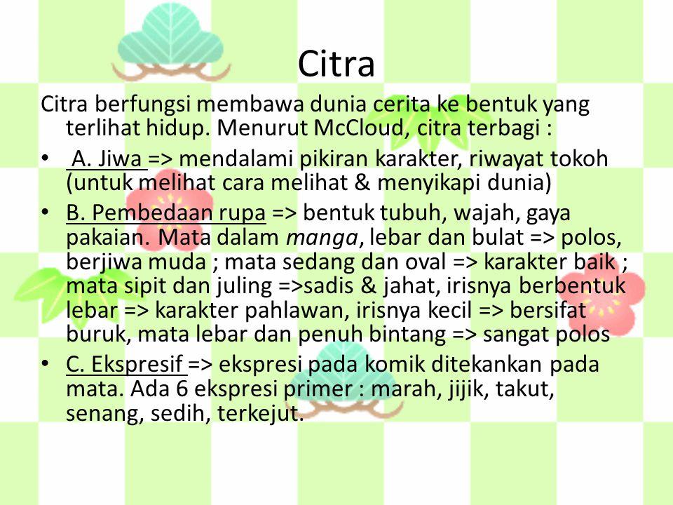 Citra Citra berfungsi membawa dunia cerita ke bentuk yang terlihat hidup. Menurut McCloud, citra terbagi : A. Jiwa => mendalami pikiran karakter, riwa