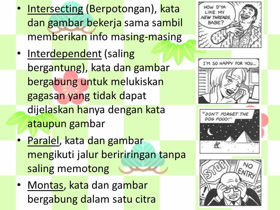 Intersecting (Berpotongan), kata dan gambar bekerja sama sambil memberikan info masing-masing Interdependent (saling bergantung), kata dan gambar berg