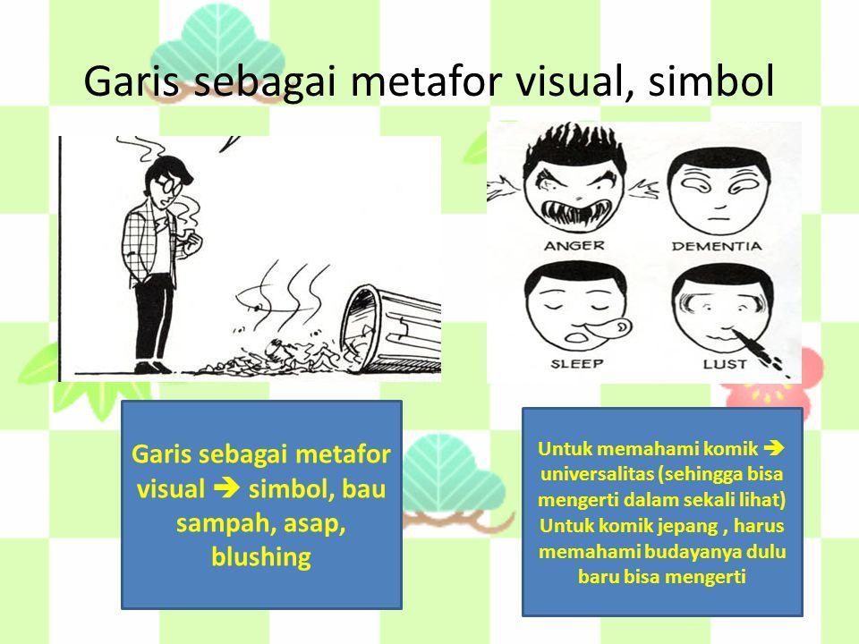 Garis sebagai metafor visual, simbol Untuk memahami komik  universalitas (sehingga bisa mengerti dalam sekali lihat) Untuk komik jepang, harus memahami budayanya dulu baru bisa mengerti Garis sebagai metafor visual  simbol, bau sampah, asap, blushing