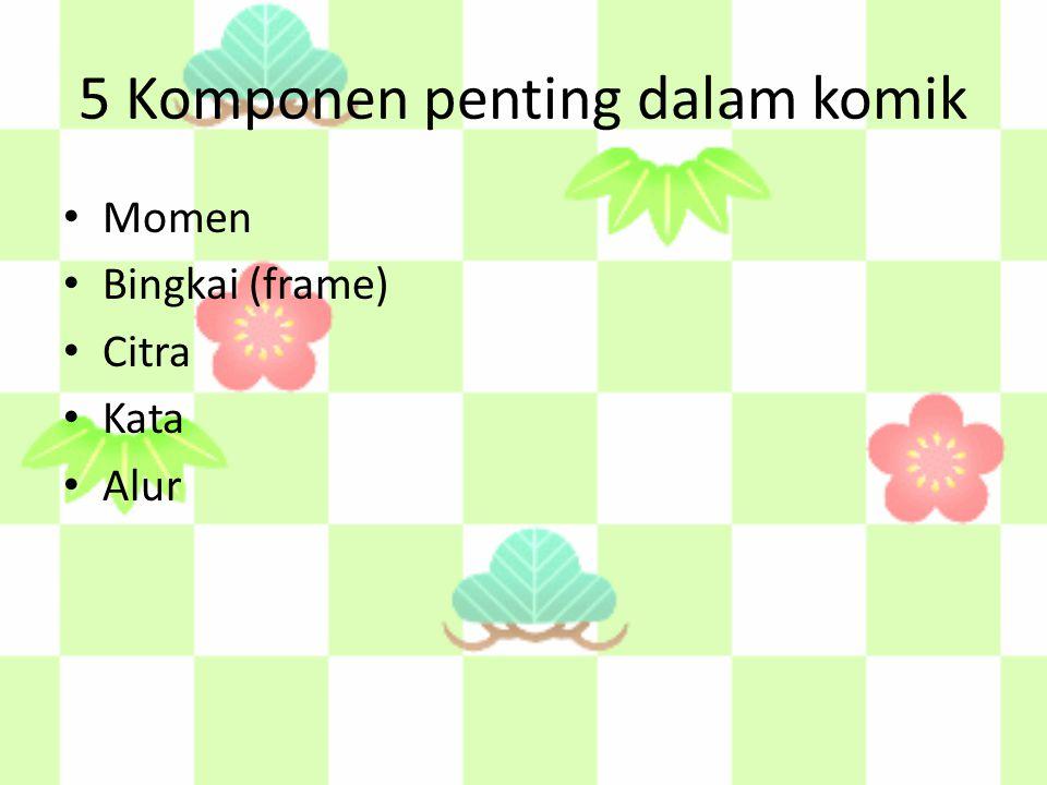 5 Komponen penting dalam komik Momen Bingkai (frame) Citra Kata Alur