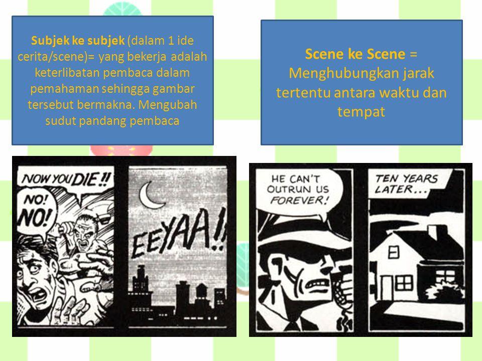 Subjek ke subjek (dalam 1 ide cerita/scene)= yang bekerja adalah keterlibatan pembaca dalam pemahaman sehingga gambar tersebut bermakna. Mengubah sudu