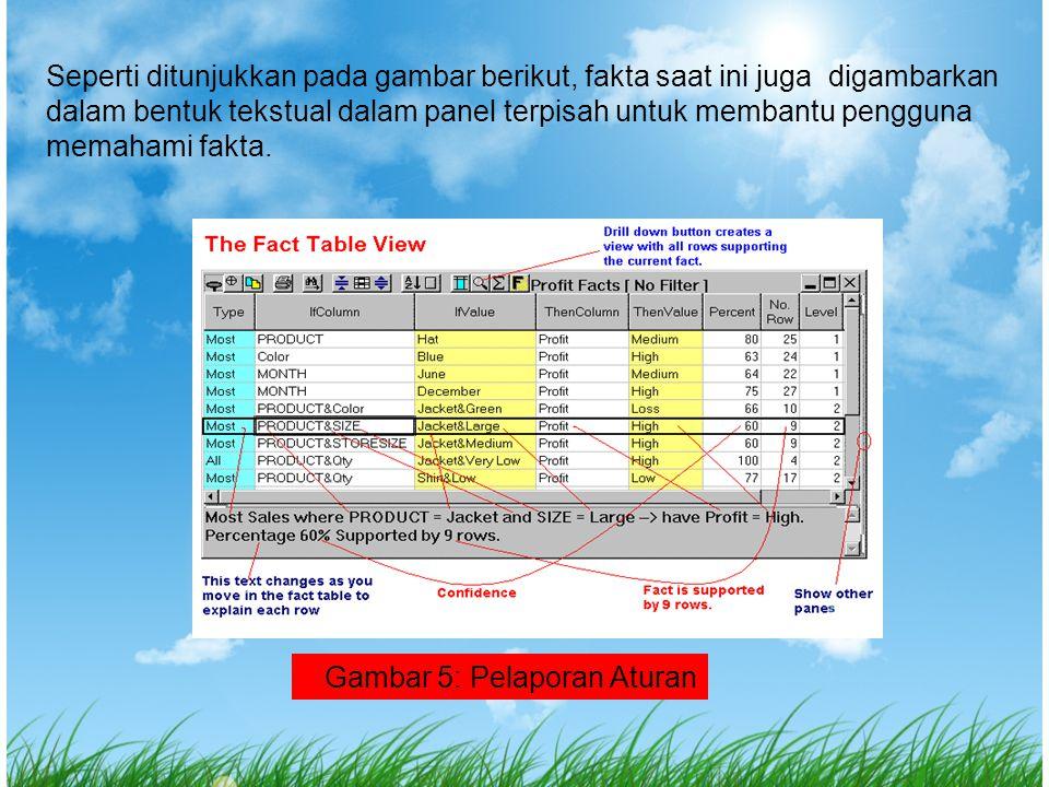 Seperti ditunjukkan pada gambar berikut, fakta saat ini juga digambarkan dalam bentuk tekstual dalam panel terpisah untuk membantu pengguna memahami fakta.