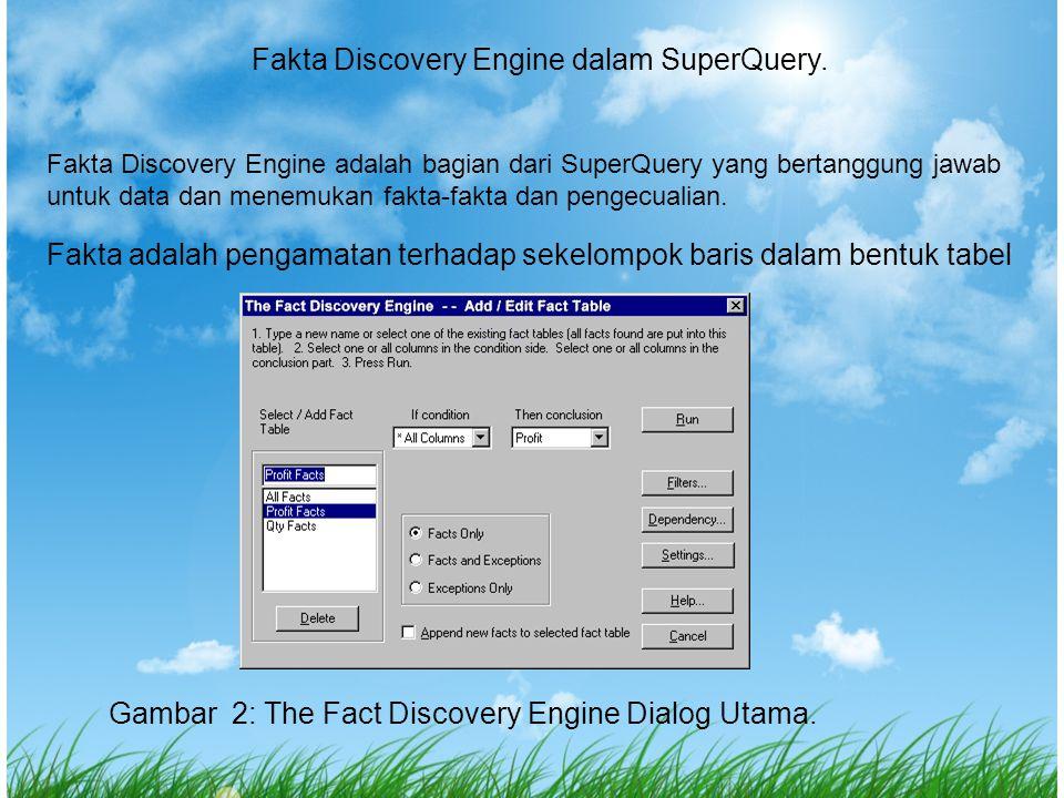 Fakta Discovery Engine dalam SuperQuery. Fakta Discovery Engine adalah bagian dari SuperQuery yang bertanggung jawab untuk data dan menemukan fakta-fa