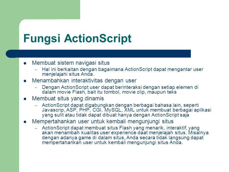Menggunakan Action Panel The Actions panel lets you create and edit actions for an object or frame.