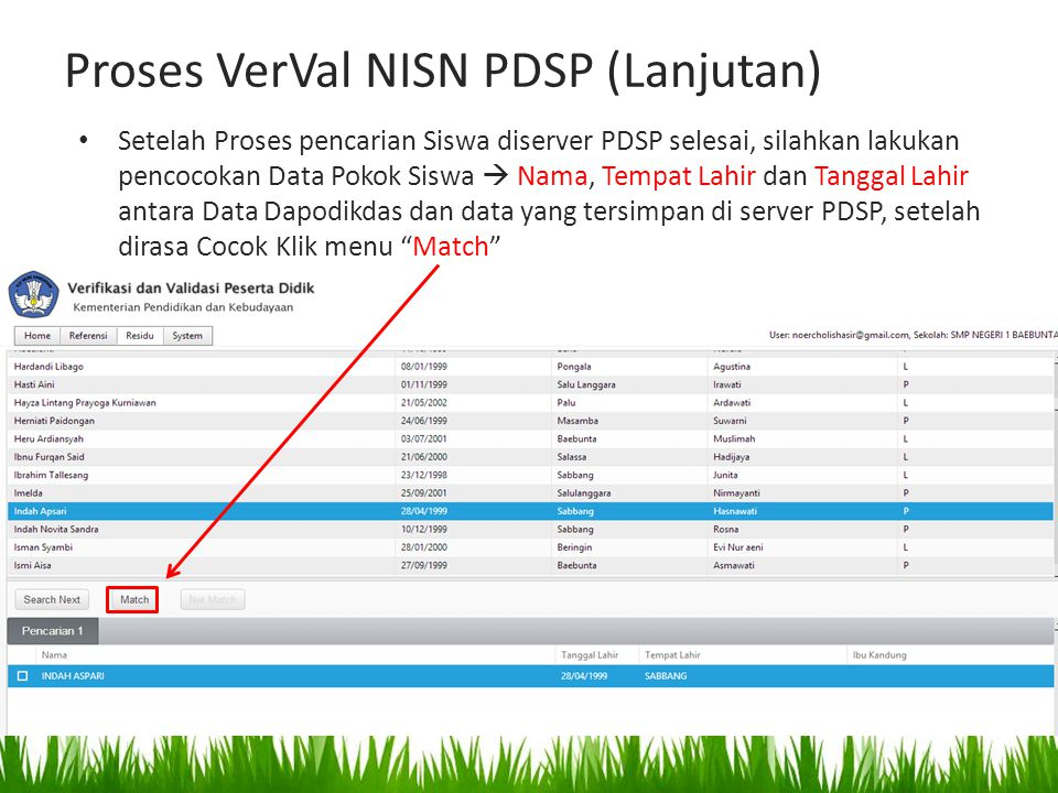Proses VerVal NISN PDSP (Lanjutan) Setelah Proses pencarian Siswa diserver PDSP selesai, silahkan lakukan pencocokan Data Pokok Siswa  Nama, Tempat L