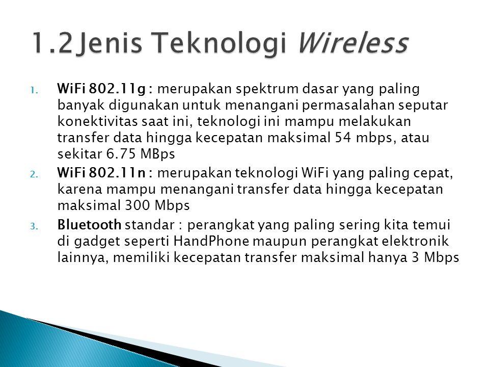 1. WiFi 802.11g : merupakan spektrum dasar yang paling banyak digunakan untuk menangani permasalahan seputar konektivitas saat ini, teknologi ini mamp
