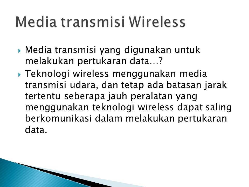  Media transmisi yang digunakan untuk melakukan pertukaran data…?  Teknologi wireless menggunakan media transmisi udara, dan tetap ada batasan jarak