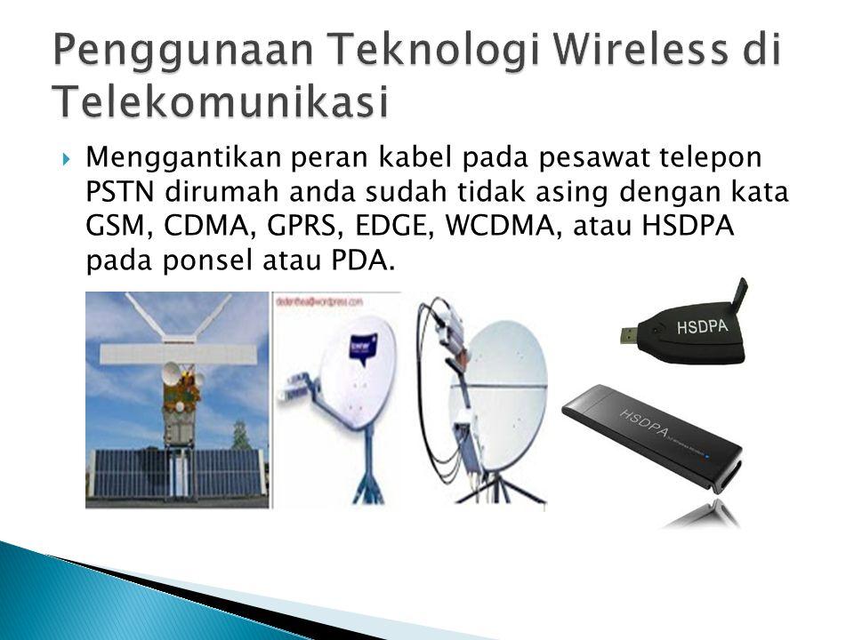  Menggantikan peran kabel pada pesawat telepon PSTN dirumah anda sudah tidak asing dengan kata GSM, CDMA, GPRS, EDGE, WCDMA, atau HSDPA pada ponsel a