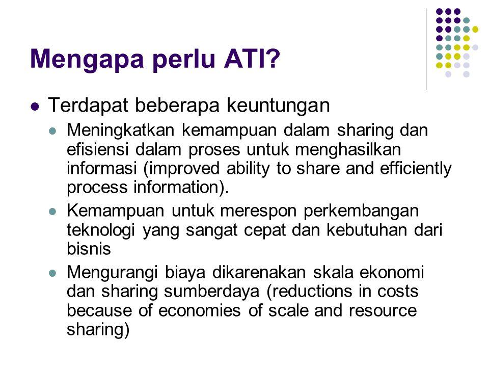 Mengapa perlu ATI? Terdapat beberapa keuntungan Meningkatkan kemampuan dalam sharing dan efisiensi dalam proses untuk menghasilkan informasi (improved