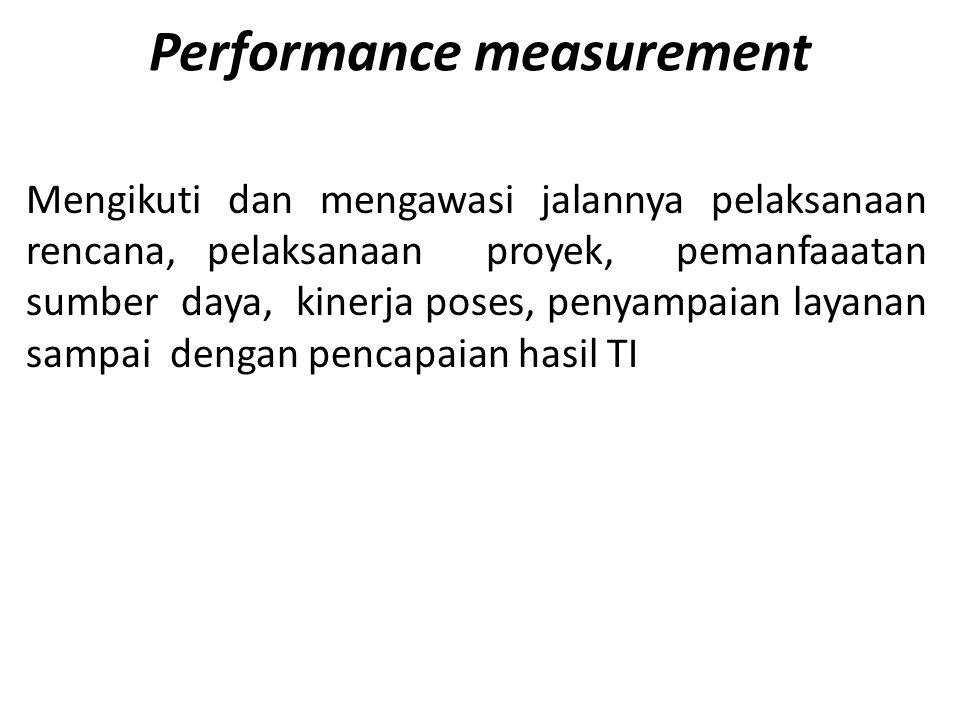 Performance measurement Mengikuti dan mengawasi jalannya pelaksanaan rencana, pelaksanaan proyek, pemanfaaatan sumber daya, kinerja poses, penyampaian