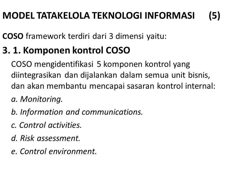 MODEL TATAKELOLA TEKNOLOGI INFORMASI (5) COSO framework terdiri dari 3 dimensi yaitu: 3. 1. Komponen kontrol COSO COSO mengidentifikasi 5 komponen kon