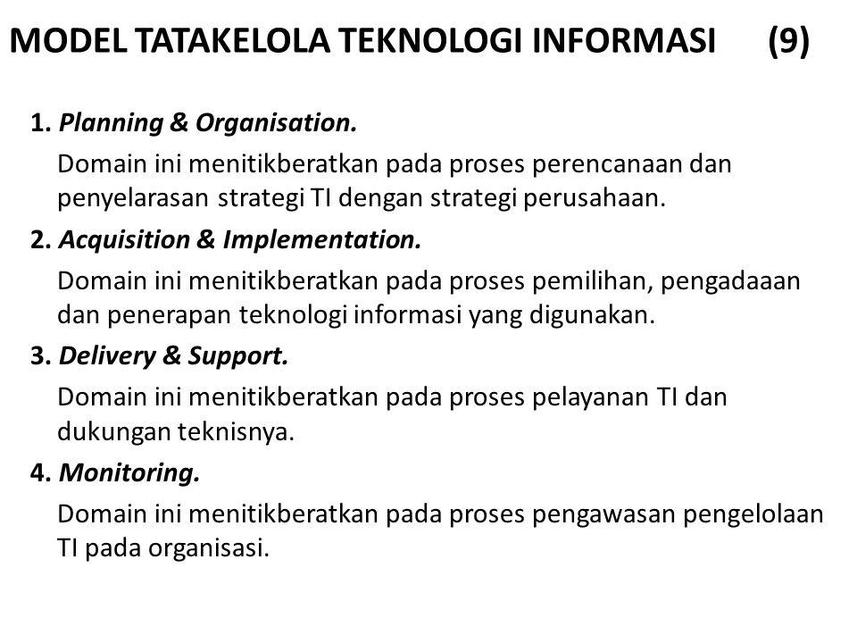 MODEL TATAKELOLA TEKNOLOGI INFORMASI (9) 1. Planning & Organisation. Domain ini menitikberatkan pada proses perencanaan dan penyelarasan strategi TI d