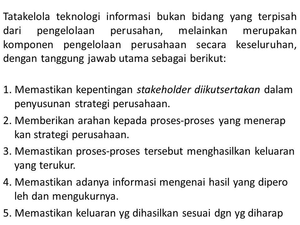 Tatakelola teknologi informasi bukan bidang yang terpisah dari pengelolaan perusahan, melainkan merupakan komponen pengelolaan perusahaan secara kesel