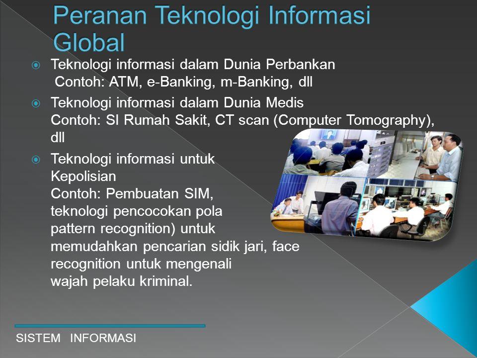 SISTEM INFORMASI  Teknologi informasi dalam Dunia Perbankan Contoh: ATM, e-Banking, m-Banking, dll  Teknologi informasi dalam Dunia Medis Contoh: SI