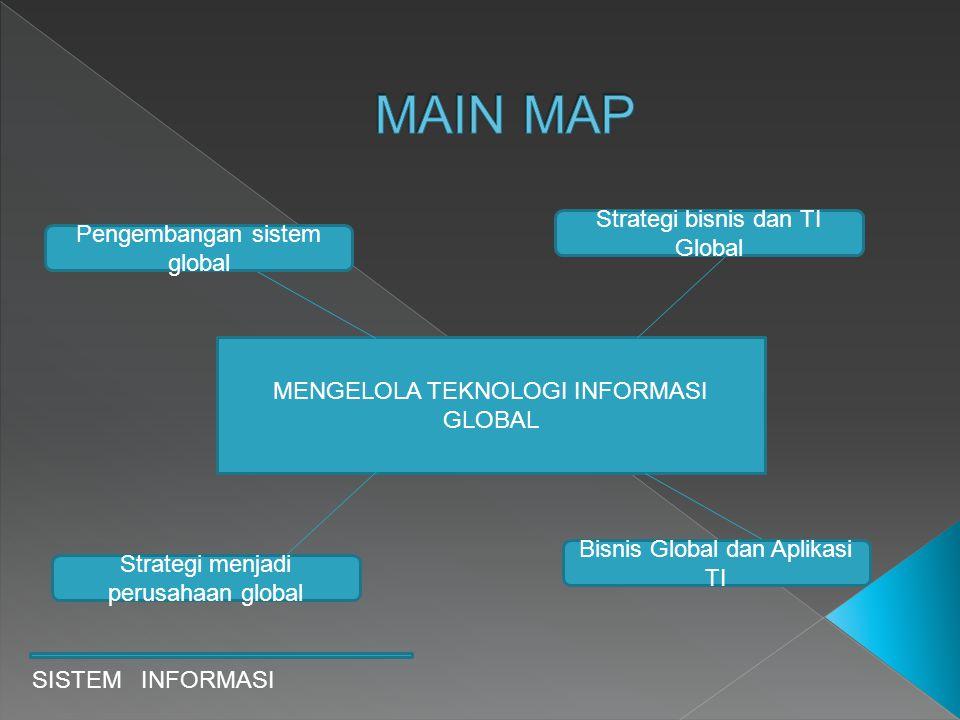 SISTEM INFORMASI MENGELOLA TEKNOLOGI INFORMASI GLOBAL Pengembangan sistem global Bisnis Global dan Aplikasi TI Strategi menjadi perusahaan global Stra
