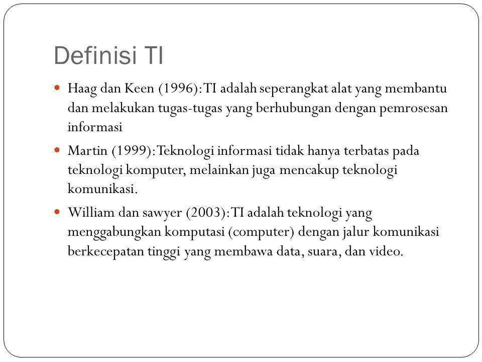 Definisi TI Haag dan Keen (1996): TI adalah seperangkat alat yang membantu dan melakukan tugas-tugas yang berhubungan dengan pemrosesan informasi Mart