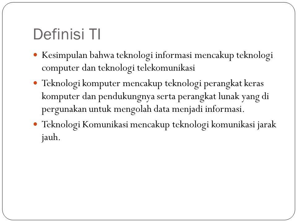 Definisi TI Kesimpulan bahwa teknologi informasi mencakup teknologi computer dan teknologi telekomunikasi Teknologi komputer mencakup teknologi perang