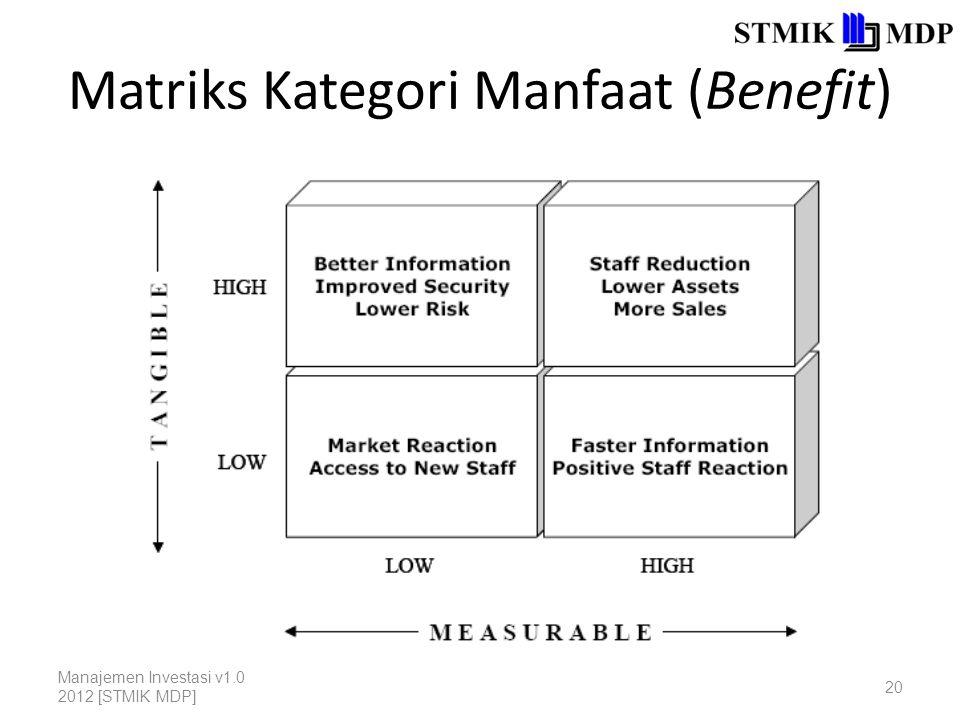 Matriks Kategori Manfaat (Benefit) Manajemen Investasi v1.0 2012 [STMIK MDP] 20