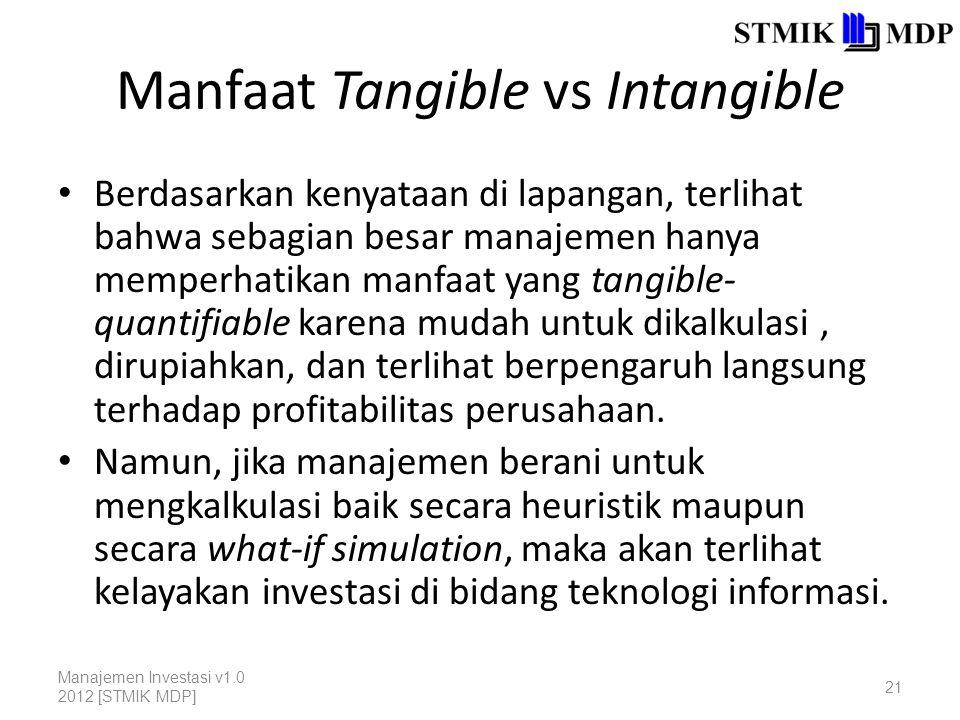 Manfaat Tangible vs Intangible Berdasarkan kenyataan di lapangan, terlihat bahwa sebagian besar manajemen hanya memperhatikan manfaat yang tangible- quantifiable karena mudah untuk dikalkulasi, dirupiahkan, dan terlihat berpengaruh langsung terhadap profitabilitas perusahaan.
