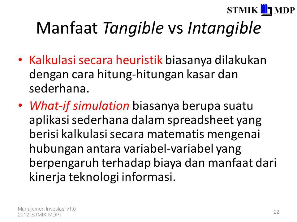 Manfaat Tangible vs Intangible Kalkulasi secara heuristik biasanya dilakukan dengan cara hitung-hitungan kasar dan sederhana.