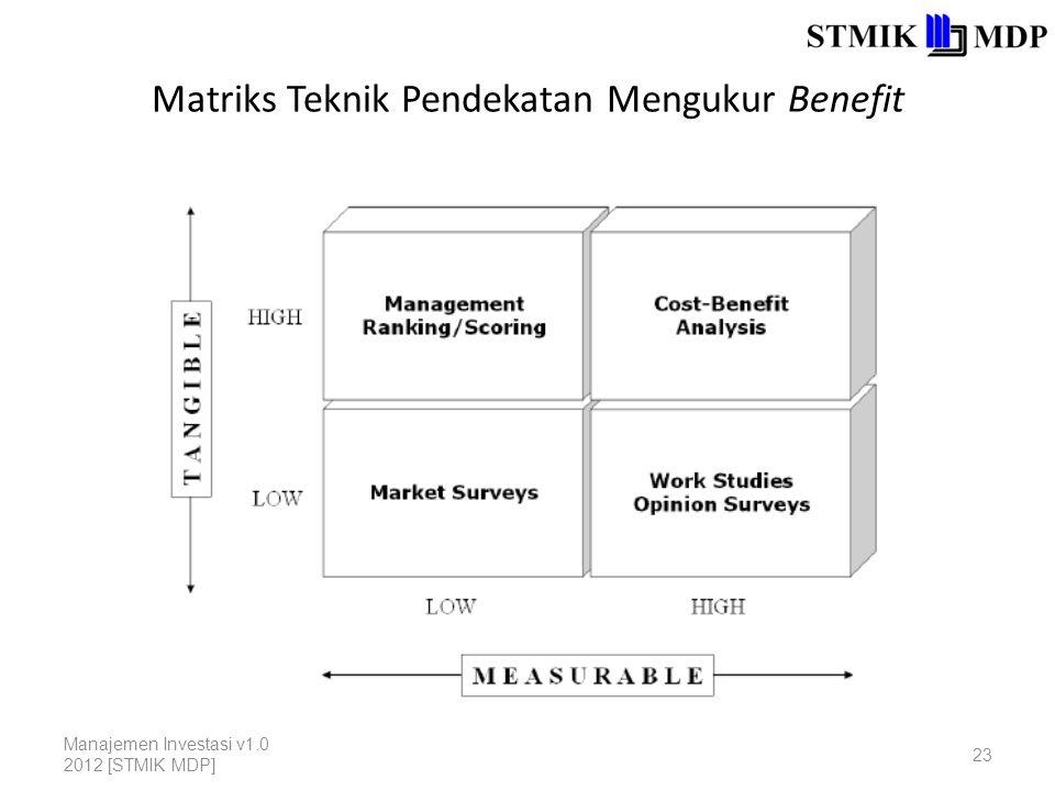 Matriks Teknik Pendekatan Mengukur Benefit Manajemen Investasi v1.0 2012 [STMIK MDP] 23