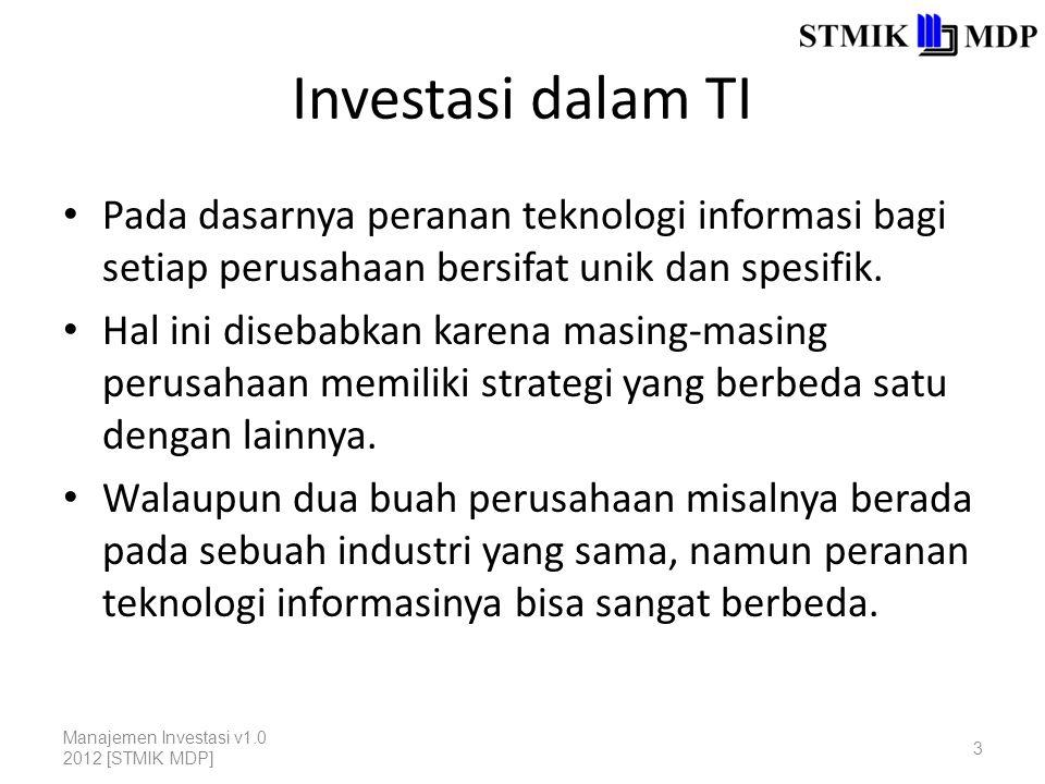 Investasi dalam TI Pada dasarnya peranan teknologi informasi bagi setiap perusahaan bersifat unik dan spesifik.