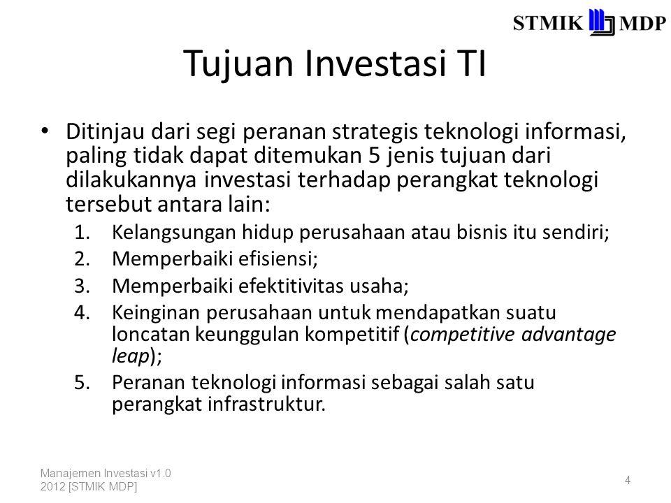 Tujuan Investasi TI Ditinjau dari segi peranan strategis teknologi informasi, paling tidak dapat ditemukan 5 jenis tujuan dari dilakukannya investasi terhadap perangkat teknologi tersebut antara lain: 1.Kelangsungan hidup perusahaan atau bisnis itu sendiri; 2.Memperbaiki efisiensi; 3.Memperbaiki efektitivitas usaha; 4.Keinginan perusahaan untuk mendapatkan suatu loncatan keunggulan kompetitif (competitive advantage leap); 5.Peranan teknologi informasi sebagai salah satu perangkat infrastruktur.