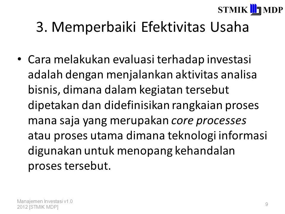 3. Memperbaiki Efektivitas Usaha Cara melakukan evaluasi terhadap investasi adalah dengan menjalankan aktivitas analisa bisnis, dimana dalam kegiatan