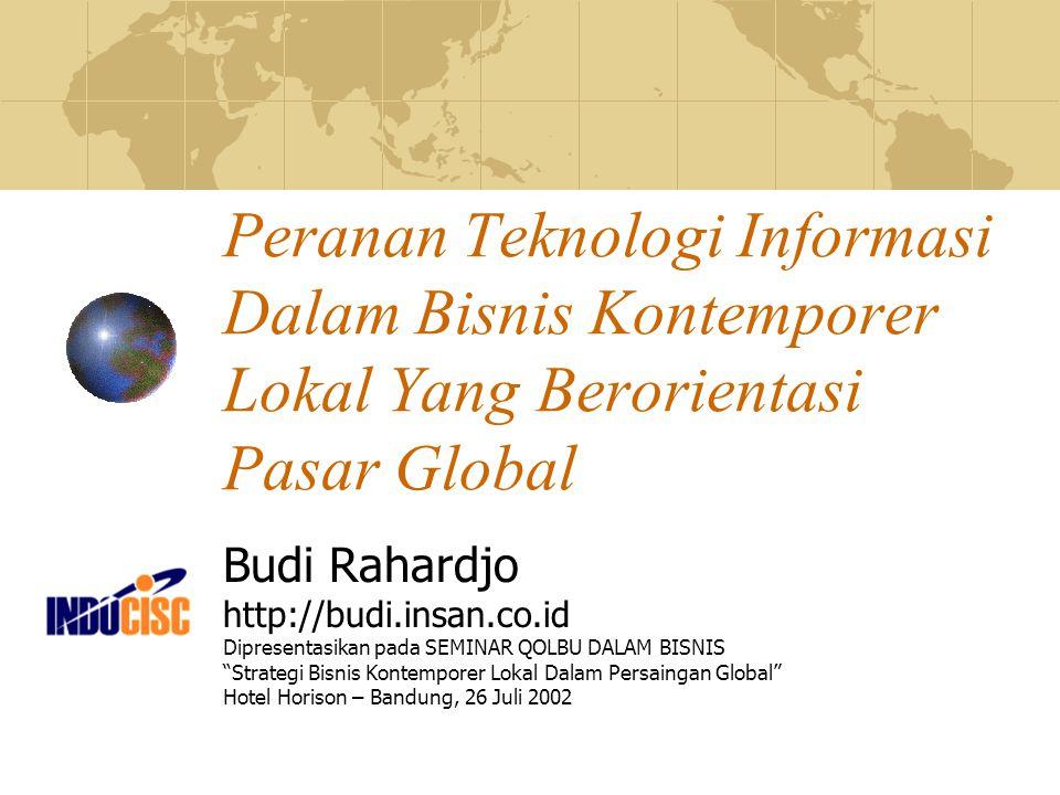 Peranan Teknologi Informasi Dalam Bisnis Kontemporer Lokal Yang Berorientasi Pasar Global Budi Rahardjo http://budi.insan.co.id Dipresentasikan pada S