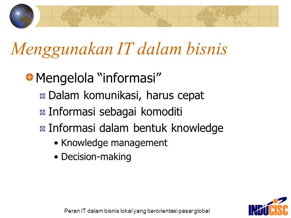 """Peran IT dalam bisnis lokal yang berorientasi pasar global Menggunakan IT dalam bisnis Mengelola """"informasi"""" Dalam komunikasi, harus cepat Informasi s"""