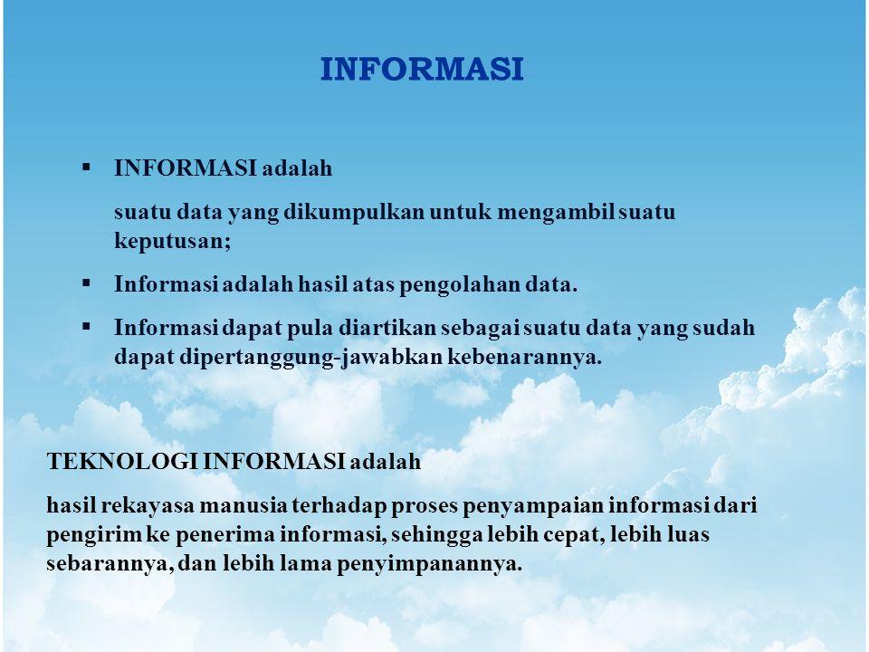 INFORMASI  INFORMASI adalah suatu data yang dikumpulkan untuk mengambil suatu keputusan;  Informasi adalah hasil atas pengolahan data.  Informasi d