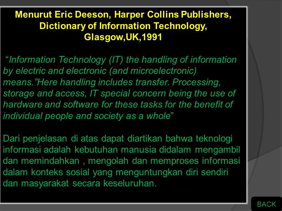 PENGERTIAN TIK Menurut Eric Deeson, Harper Collins Publishers, Dictionary of Information Technology, Glasgow,UK,1991 Menurut Puskur Diknas Indonesia M
