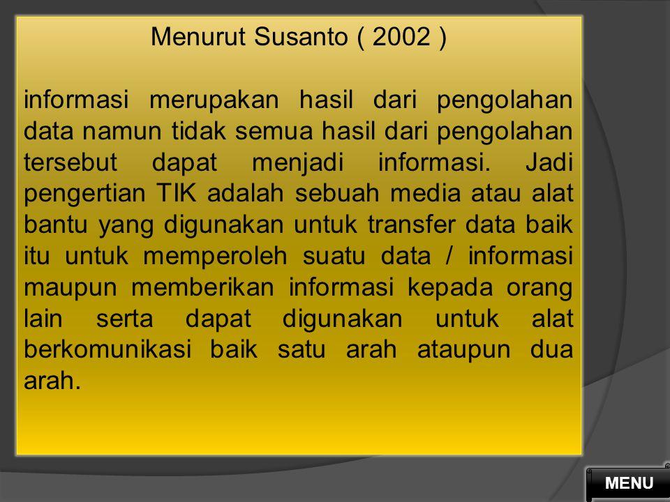 Menurut Puskur Diknas Indonesia, Teknologi Informasi dan Komunikasi (TIK) mencakup dua aspek, yaitu Teknologi Informasi dan Teknologi Komunikasi. A.Te