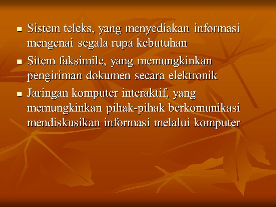 Wujud Sistem Komunikasi Jaringan pengolahan data yang memungkinkan orang berbelanja dengan menekan tombol-tombol komputer di rumah masing-masing Jaringan pengolahan data yang memungkinkan orang berbelanja dengan menekan tombol-tombol komputer di rumah masing-masing Bank Informasi dan sistem penelusuran, yang memungkinkan pemakaiannya menelusuri informasi yang diperlukan serta memperoleh kopi cetakannya dalam sekejap mata Bank Informasi dan sistem penelusuran, yang memungkinkan pemakaiannya menelusuri informasi yang diperlukan serta memperoleh kopi cetakannya dalam sekejap mata