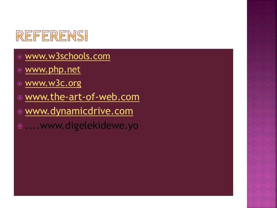  www.w3schools.com www.w3schools.com  www.php.net www.php.net  www.w3c.org www.w3c.org  www.the-art-of-web.com www.the-art-of-web.com  www.dynamicdrive.com www.dynamicdrive.com ....www.digelekidewe.yo