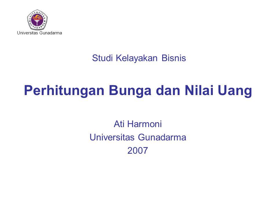 Universitas Gunadarma Studi Kelayakan Bisnis Perhitungan Bunga dan Nilai Uang Ati Harmoni Universitas Gunadarma 2007