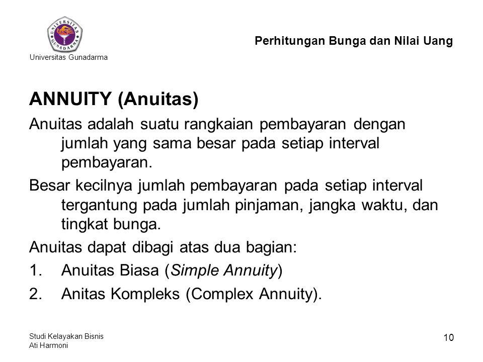 Universitas Gunadarma Studi Kelayakan Bisnis Ati Harmoni 10 ANNUITY (Anuitas) Anuitas adalah suatu rangkaian pembayaran dengan jumlah yang sama besar pada setiap interval pembayaran.