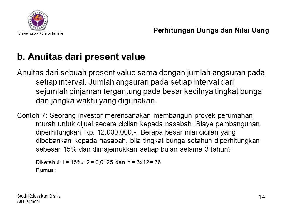 Universitas Gunadarma Studi Kelayakan Bisnis Ati Harmoni 14 b. Anuitas dari present value Anuitas dari sebuah present value sama dengan jumlah angsura