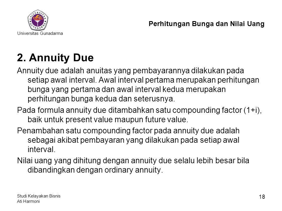 Universitas Gunadarma Studi Kelayakan Bisnis Ati Harmoni 18 2. Annuity Due Annuity due adalah anuitas yang pembayarannya dilakukan pada setiap awal in