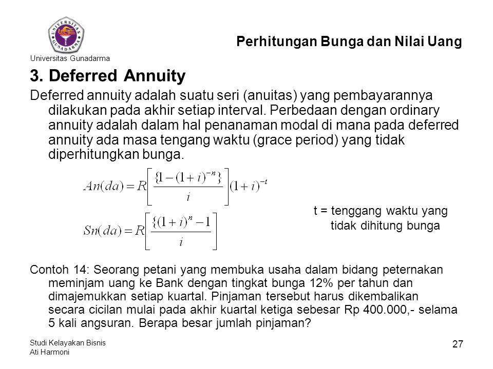 Universitas Gunadarma Studi Kelayakan Bisnis Ati Harmoni 27 3. Deferred Annuity Deferred annuity adalah suatu seri (anuitas) yang pembayarannya dilaku
