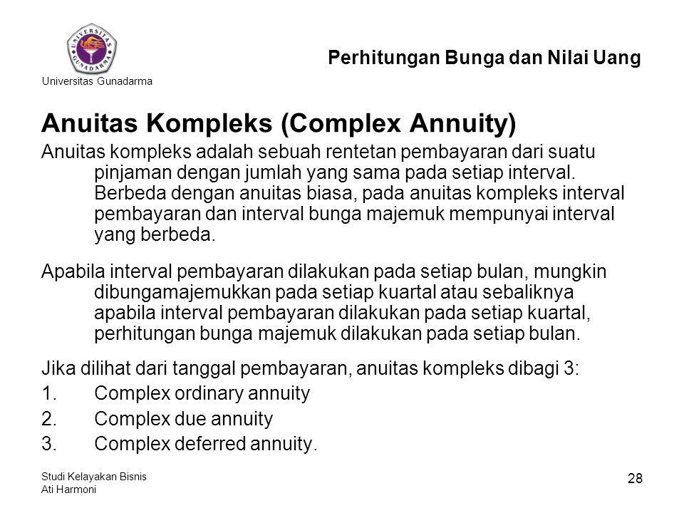 Universitas Gunadarma Studi Kelayakan Bisnis Ati Harmoni 28 Anuitas Kompleks (Complex Annuity) Anuitas kompleks adalah sebuah rentetan pembayaran dari suatu pinjaman dengan jumlah yang sama pada setiap interval.