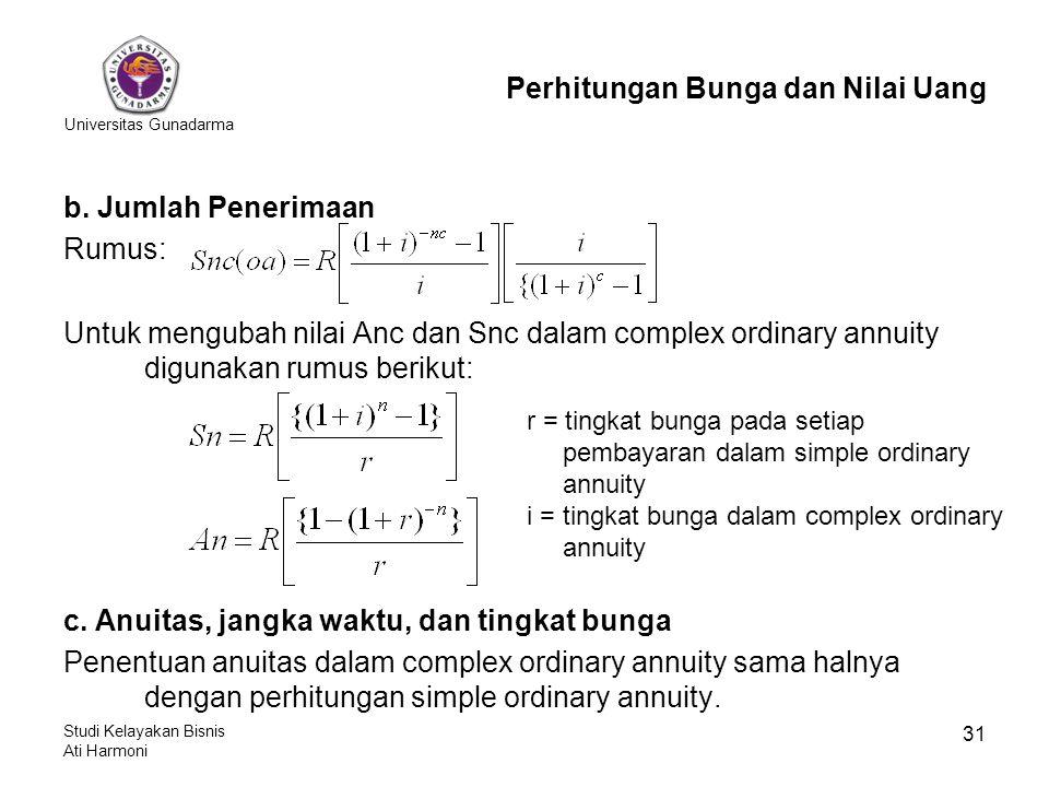 Universitas Gunadarma Studi Kelayakan Bisnis Ati Harmoni 31 b. Jumlah Penerimaan Rumus: Untuk mengubah nilai Anc dan Snc dalam complex ordinary annuit